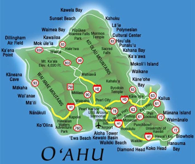 오아후 섬 지도